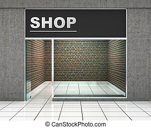 Shop Front. Exterior horizontal windows empty for your store...