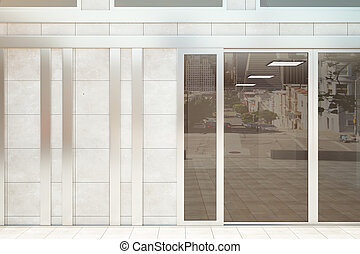 Shop front exterior with banner