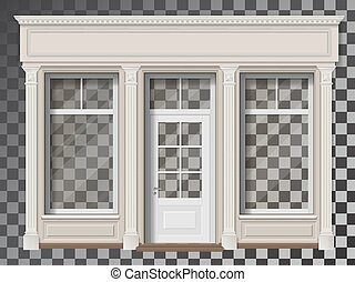 Shop front with column transparent window
