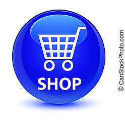 Shop glassy blue round button