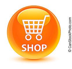 Shop glassy orange round button