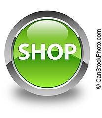Shop glossy green round button
