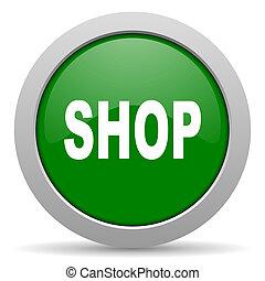 shop green glossy web icon