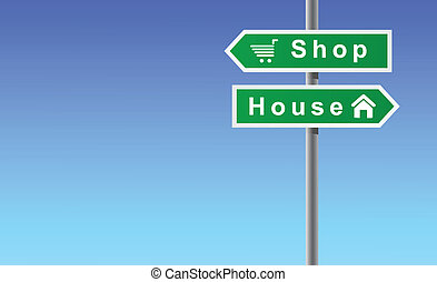 shop, hus, pile, baggrund, himmel