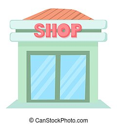Shop icon, cartoon style - Shop icon. Cartoon illustration...