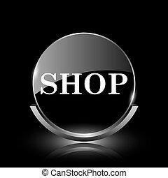 Shop icon - Shiny glossy glass icon on black background