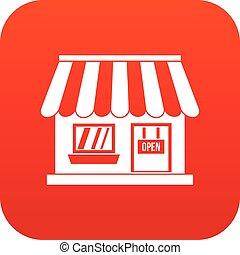 Shop icon digital red