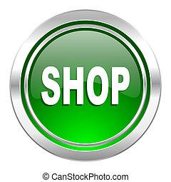 shop icon, green button