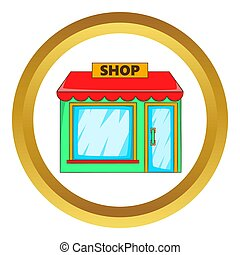 Shop icon in golden circle, cartoon style isolated on white...