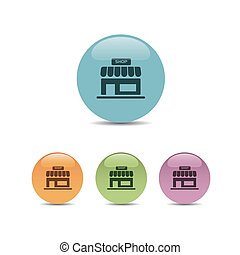 Shop icon on a colored round buttons