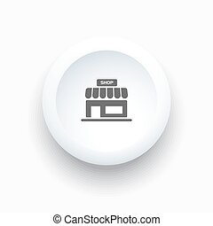 Shop icon on a white simple button