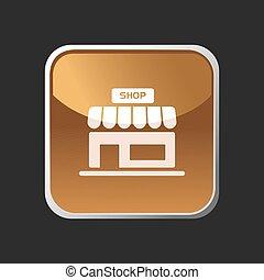 Shop icon on an orange square button