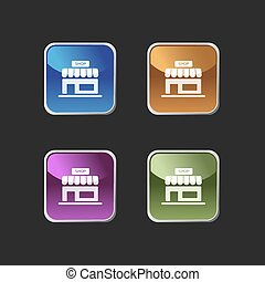 Shop icon on colored square buttons