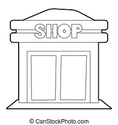 Shop icon, outline style - Shop icon. Outline illustration...