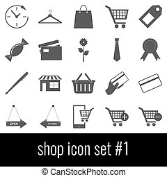 Shop. Icon set 1. Gray icons on white background.