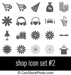 Shop. Icon set 2. Gray icons on white background.