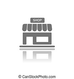 Shop icon with reflection on a white background