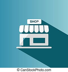 Shop icon with shadow on a blue background