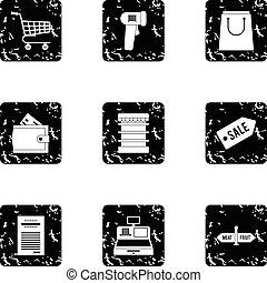 Shop icons set, grunge style