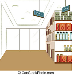 Shop interior - This illustration is a common cityscape.