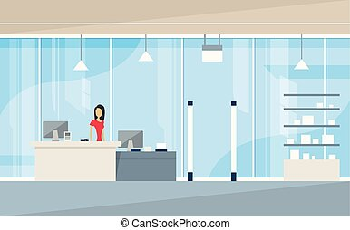 Shop Interior Sales Woman Stand Near Cash Desk