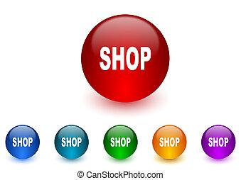 shop internet icons colorful set