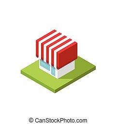 Shop isometric vector illustration, 3d store building simple