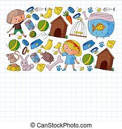 shop., kociątko, ptak, clinic., wektor, pieszczoch, pies, ilustracja, fish, lekarz weterynarii, zwierzęta, tło, barwny, puppy., kot