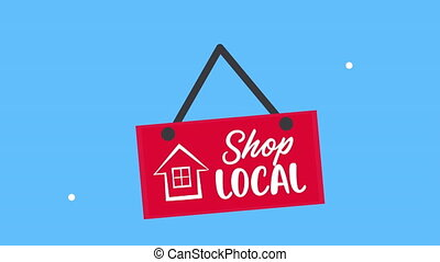 shop local business lettering in label hanging,4k video animation