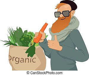 Shop local, eat organic - Bearded man eating a carrot and...