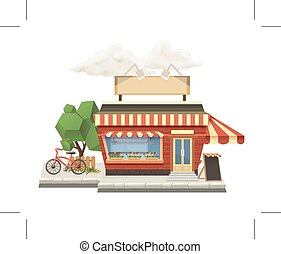 Shop, low poly vector icon