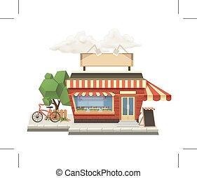Shop, low poly vector icon