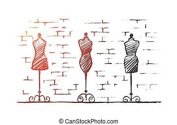 shop, mannequins, kvindelig ræk, krop, stram, mode