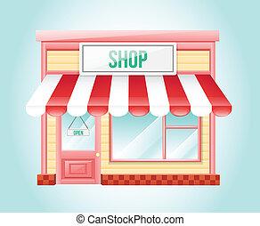 shop, marked, ikon