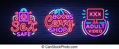 shop neon signs collection. Industry is the concept of neon adult logos. Neon sign, design element. Intimate store, Adult videos,. Bright nightly advertising. Vector illustration