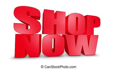 Shop Now 3D Text Come Down 3D Animation Render.