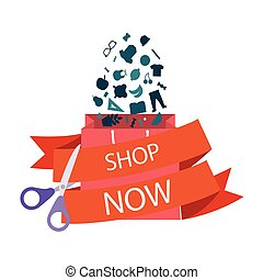 Shop Now Bag Scissors Cutting Red Ribbon Vector Image
