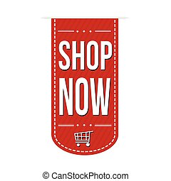 Shop now banner design over a white background, vector illustration