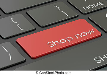 shop now button, red hot key on keyboard 3D rendering