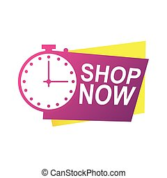 shop now countdown badge with chronometer vector illustration design
