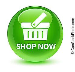 Shop now glassy green round button