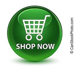 Shop now glassy soft green round button