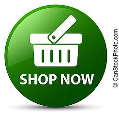 Shop now green round button