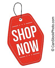 Shop now red leather label or price tag on white background, vector illustration