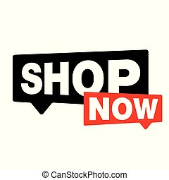 Shop Now label sign vector