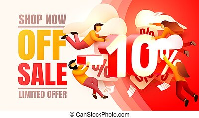 Shop now off sale, 10 interest discount, limited offer. Vector