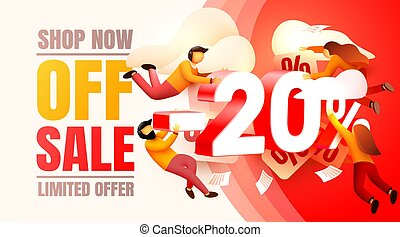 Shop now off sale, 20 interest discount, limited offer. Vector