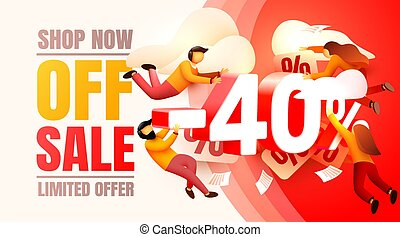 Shop now off sale, 40 interest discount, limited offer. Vector