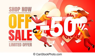 Shop now off sale, 50 interest discount, limited offer. Vector