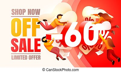 Shop now off sale, 60 interest discount, limited offer. Vector